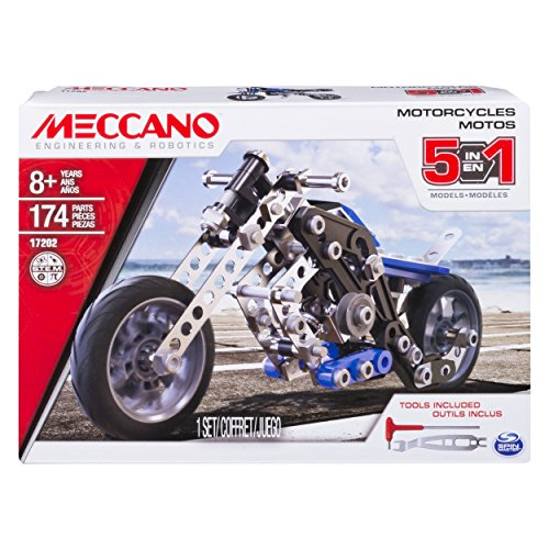 Meccano Erector, 5 in 1 Model Building Set - Motorcycles, 174 Pieces, for Ages 8 and up, STEM Construction Education Toy
