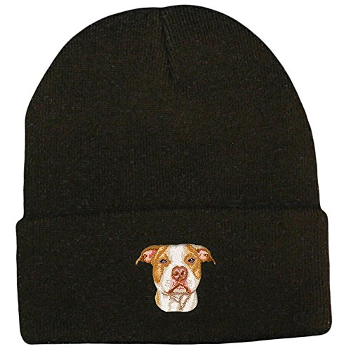 Cherrybrook Dog Breed Embroidered Ultraclub Classic Knit Beanies - Black - American Pitbull Terrier