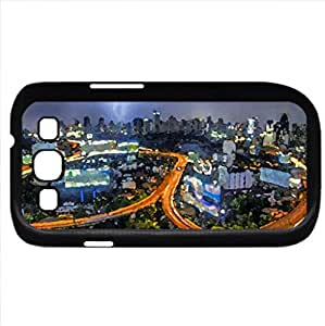 lightning storm over bankok city highways hdr (Forces of Nature Series) Watercolor style - Case Cover For Samsung Galaxy S3 i9300 (Black)