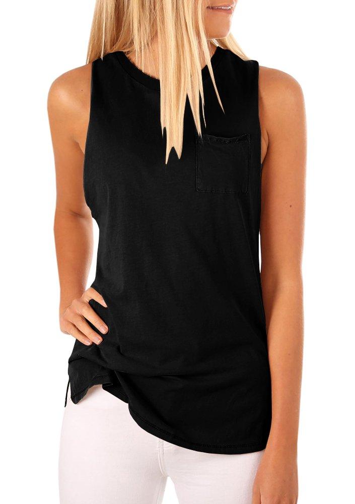 Mafulus Women's High Neck Tank Top Sleeveless Blouse Plain T Shirts Pocket Cami Summer Tops