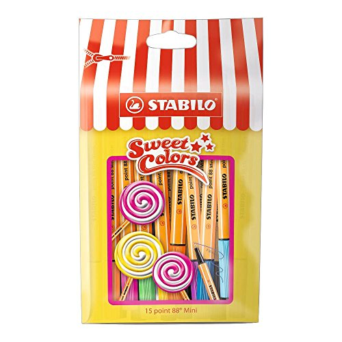 STABILO point 88 Mini Sweet colors - Fineliner - im wiederverschließbaren Beutel - 15er Set