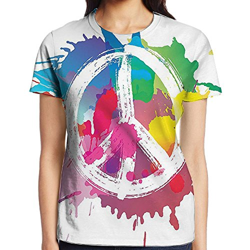 WuLion Famous Widely Used Peace Logo with Colorful Splash Grunge Style Anti-war Pacifism Theme Women's 3D Print T Shirt S White