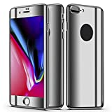Slim Full Body Hybrid Hard Case For iPhone 8 Plus,With 9H Tempered Glass (Silver)