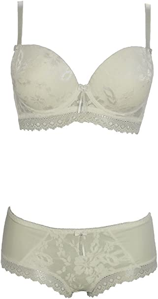 6479-2 Ladies Elegant All Over Lacy Pattern Bra and Hipster Set Cream B,C Cup