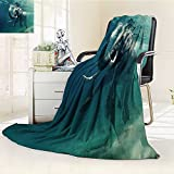 Luxury Collection Ultra Soft Plush Fleece Lightweight swimming elephant underwater african elephant in ocean with mirrors and ripples All-Season Throw/Bed Blanket(90''x 70'')