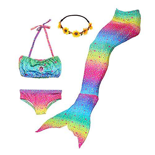 Ubetoone Mermaid Tail Swimmable Costume Swimsuit for Girls Swimming(No Monofin) (Rainbow Mermaid, Child XXL (10Y-11Y)) -
