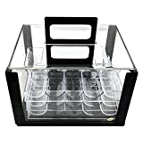 600 Chip Clear Acrylic Poker Chip Carrier-Includes 6 Chip Racks By YH Poker