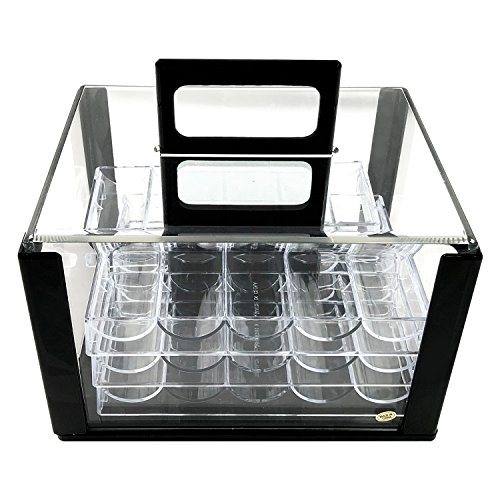 600 Chip Clear Acrylic Poker Chip Carrier-Includes 6 Chip Racks By YH Poker by YH Poker