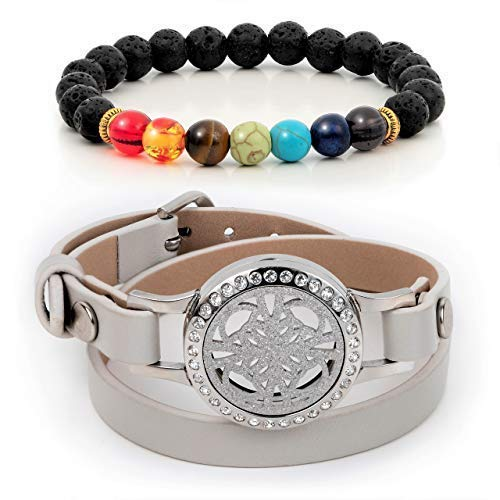 Divass Essential Oils Diffuser Bracelet Christmas Women Jewelry Gift Set 7 Chakra Lava Stone Beads Womens Girls Birthday Beauty Sets Stainless Steel Aromatherapy Necklace Gray Genuine Leather (Gray)