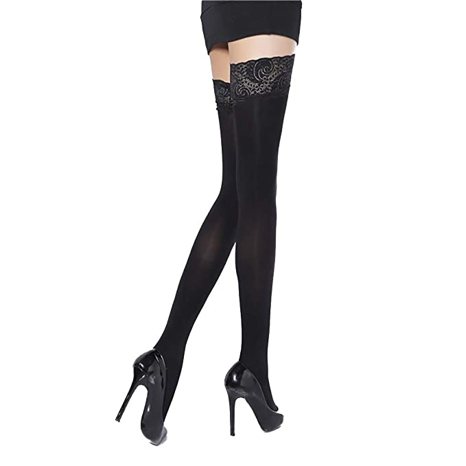 9dfaa46575325 Ambysun Sexy Thigh High Sheer Opaque Cuban Heel Stockings with Lace Top  Over The Knee