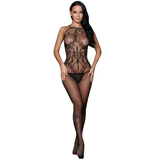 381943c7a80 Amazon.com  Women s Fishnet Bodystocking Hollow Bodysuit Mesh ...