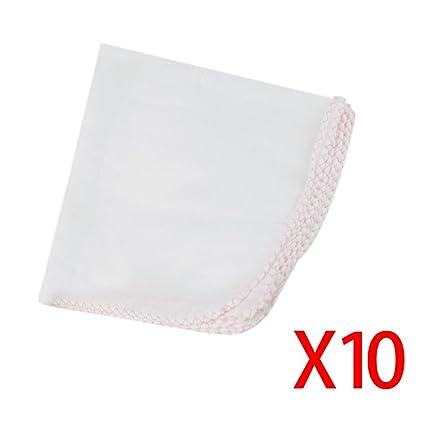 10pcs bebé pañuelo de gasa doble toalla de la saliva de tela suave cómodo algodón Práctico