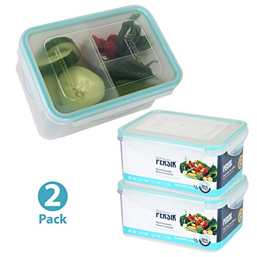 Bento Box for Kids - Small Meal Prep Containers, Divided Lunch Containers - with 3 Removable Compartment Food Portion Control Premium Quality BPA Free Airtight Lunch Boxes - 37 oz. (1.1 L) - Pack of 2