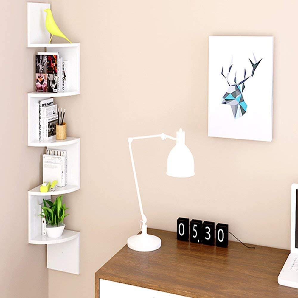 AllRight 5 Tier Wall Mounted ZigZag Corner Floating Shelf Unit Bookcase Storage Display Organizer - White AlRight