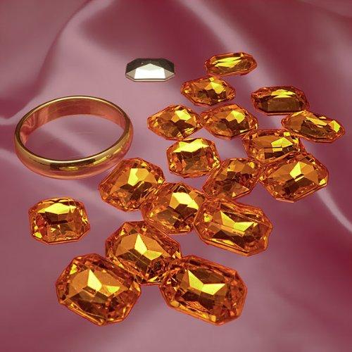 Octagon Jewels (8 MM X 10 MM AMBER OCTAGON GLASS JEWEL)