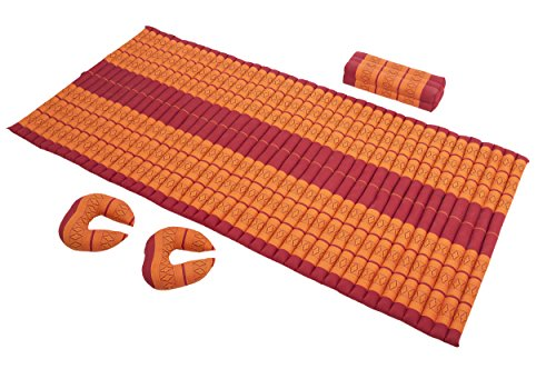 Thai Massage Set Ii: Rolable Futon Mat Approx 39x80 Inches + 3 Support Cushions, Traditional Thai Design, Kapok Filling Red&Orange by Handelsturm