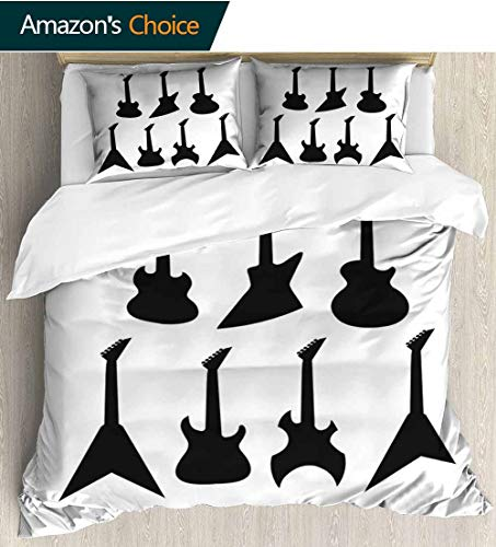 (shirlyhome Rock Music Kids Quilt 3 Piece Bedding Set,Various Guitar Silhouettes Acoustic Electronic Bass Abstract String Instruments Bedding Sets,1 Duvet Cover,1 Pillowcase 104