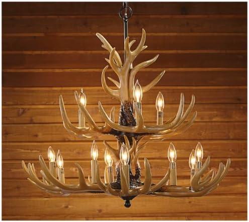 Twelve Light Deer Antler Chandelier Lighting