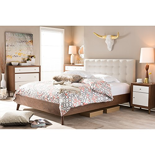 Baxton Studio Alinia Mid-Century Retro Modern Fabric Upholstered Walnut Wood Platform Bed, Queen, Off-White