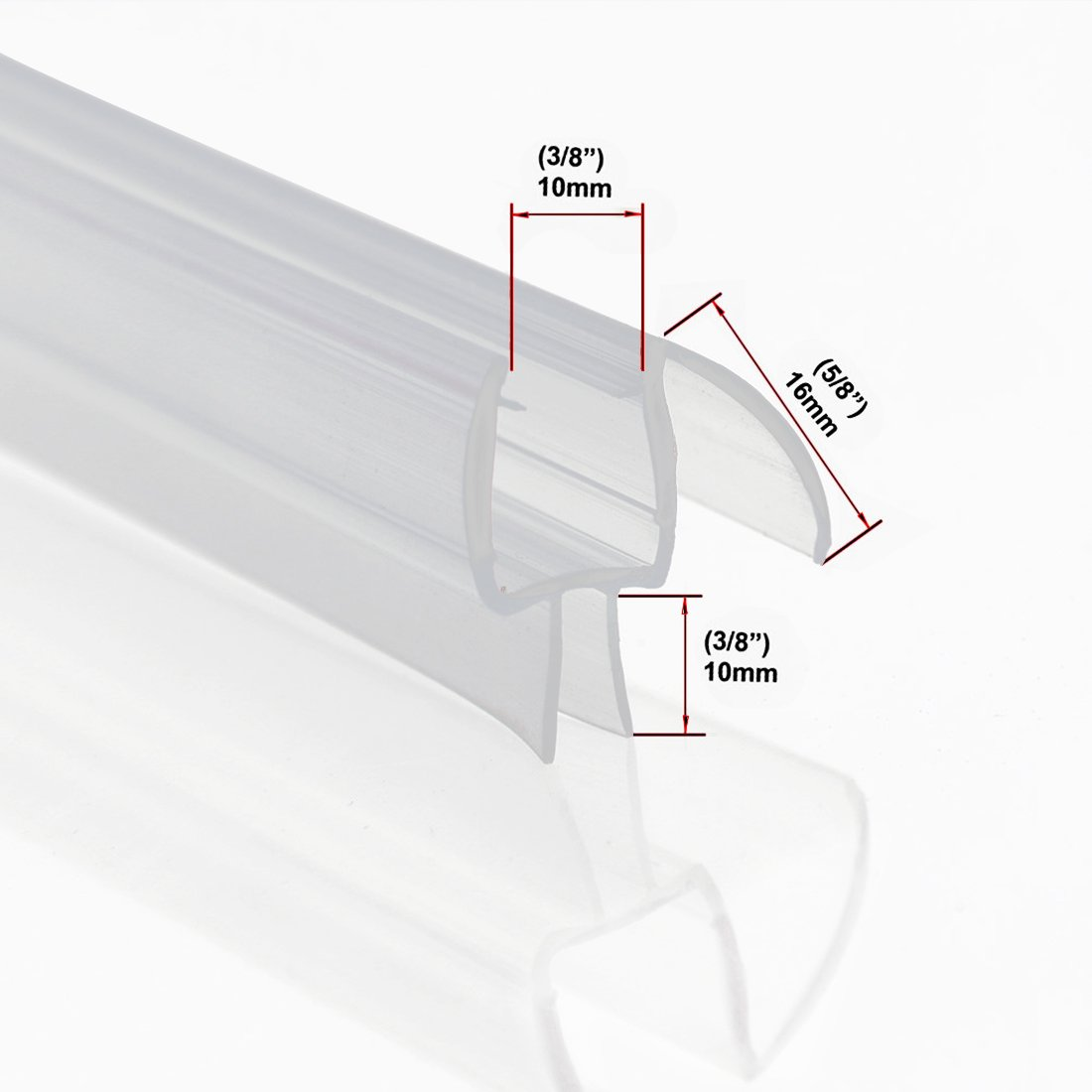 ELEGANT Shower Door Bottom Seal Strip | for 3/8 Inch Thick Frameless Glass | Weather Stripping Seal Sweep | 36 Inch Length |Free Cutting