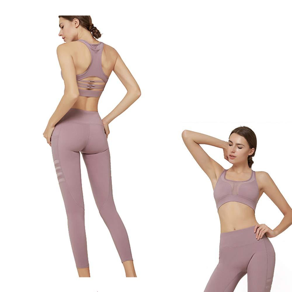 LIGHTOP Yoga Wear Set, Sport Fitness Yoga Damen Sportswear Wear/Weste und Top & Leggings Stretch-Fit Yoga Gym Set Trainingsweste Damen Trainingsbekleidung Ärmellose Weste Laufhose Yoga Anzug