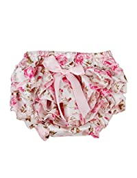 Baby Girl's Pink Floral Bowknot Ruffle Pants Bloomers Nappy Cover - S