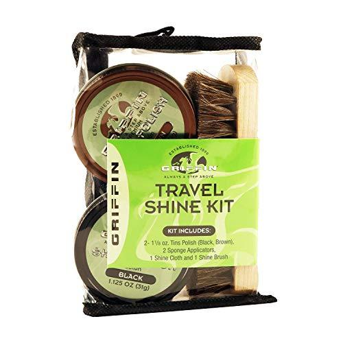 (GRIFFIN Travel Shoe Shine Kit - Includes Black Shoe Polish, Brown Shoe Polish, Sponge Applicators, Shoe Shine Cloth, and Shoe Shine Brush - Made in the)