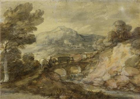 The Polyster Canvas Of Oil Painting 'Thomas Gainsborough - Landscape With Cattle Crossing A Bridge, 1785' ,size: 8x11 Inch / 20x29 Cm ,this High Definition Art Decorative Prints On Canvas (American Crossing Home Office Desk)
