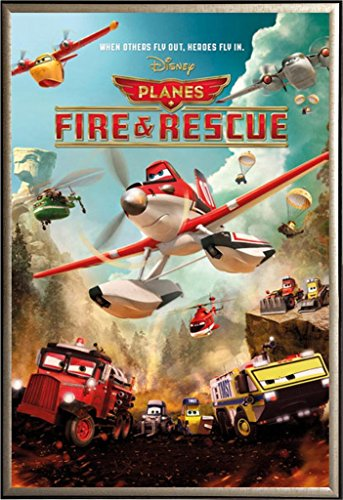 Framed Planes - Fire & Rescue Disney Movie Poster in Gold Finish Wood Frame