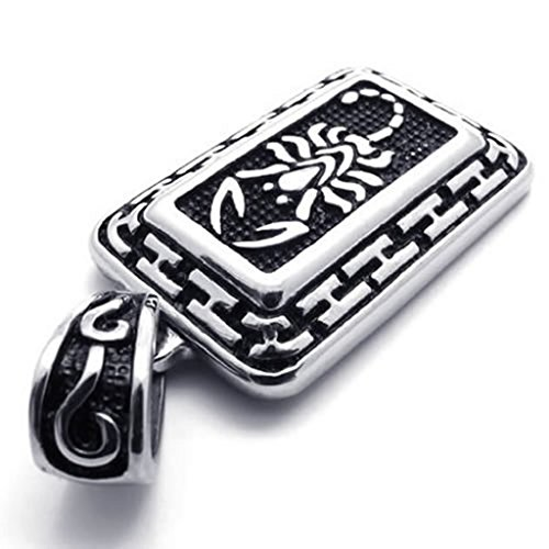 Stainless Steel Necklaces, Men's Pendant Necklace Scorpion Tribal Biker Silver 18-26 Inch]()