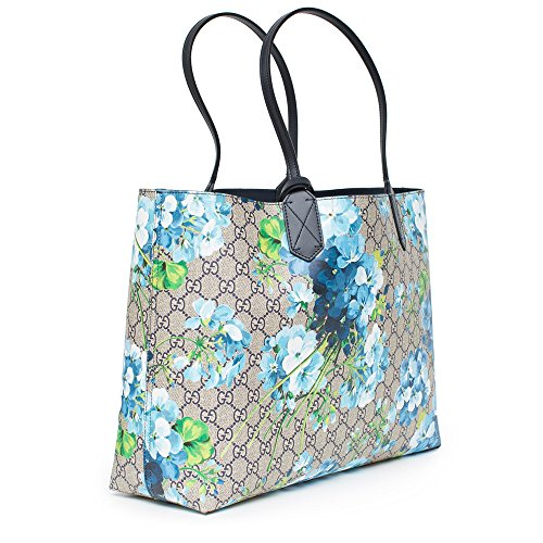 31d6e297d03a Amazon.com: Gucci Blossoms Blue Navy Reversible GG Blooms tote Leather  Handbag Bag New : Shoes
