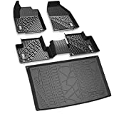 3W Floor Mats&Cargo Liner for Jeep Grand Cherokee (2016-2019) Full Set Heavy Duty Protection Custom Fit Floor Carpet&Trunk Mat All Weather Odorless TPE, Black