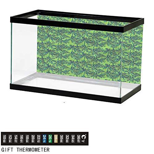 - bybyhome Fish Tank Backdrop Green,Tropical Island Forest,Aquarium Background,48