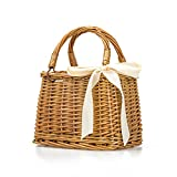 Natural Hand-Woven Rectangular Wicker Handbag Basket Purse Retro Summer Women Straw Tote (Rectangular Khaki)
