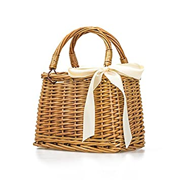 6e90839f8 Amazon.com : Natural Hand-Woven Rectangular Wicker Handbag Basket Purse  Retro Summer Women Straw Tote (Rectangular Khaki) : Baby