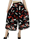 YSJERA Women's Polka Dot Floral Chiffon Capri Culottes Pants Wide Leg Trousers (M, Red Black)