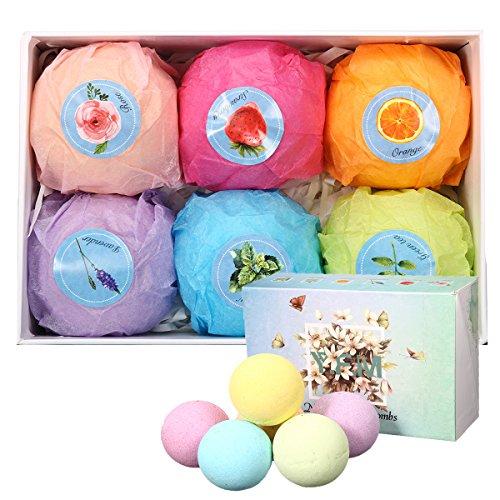 Bath Bomb Kit, LuckyFine 6 Pcs Natural Essential Oil Organic Bath Bomb Set for Valentine's Gift, Spa Bath Kit Box for Moisturizing Dry Skin, Birthday Gift for Women, Girls, Wife, Girlfriend