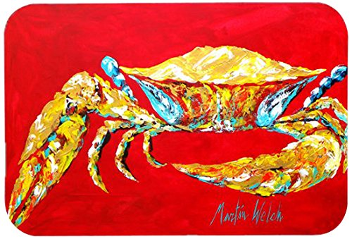 Carolines Treasures MW1116JCMTCrab Blue on Red Sr 24 by 36 Multicolor Kitchen or Bath Mat