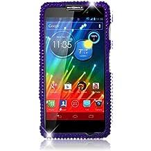 Qtech QT-1453 Unique Dazzling Diamond Bling Case for Motorola Droid Razr Maxx HD XT926M - 1 Pack - Retail Packaging - Purple Heart