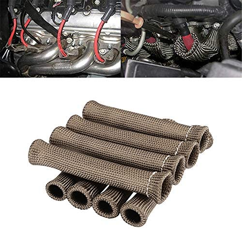 Spark Plug Protect Boot 1800 Degree Heat Shield Thermal Protection Insulator Sleeve Spark Plug Wire Boots 6 inch for Car Truck Pack of 8 Titanium