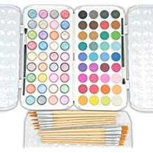 EconoArts Watercolor Paint Set, 72 Opaque Colors (Gouache) - Normal and Pearlescent, 6 Flat, 6 Round, and 2 Basic Brushes
