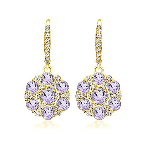 Dangle Amethyst Flower - Yellow Gold Flashed Sterling Silver Amethyst and White Topaz Flower Dangle Leverback Earrings