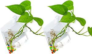 Wall Hanging Glass Planters 2Pcs Diamond Shape Plant Pots Terrarium Container Vase with 2.12 OZ Colorful Stones Indoor Outdoor for Home Garden Office Wedding