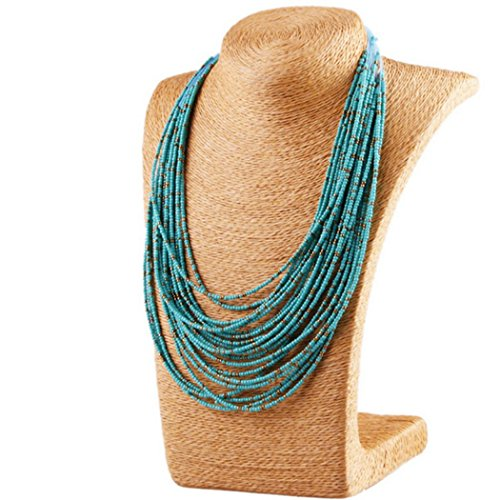 Barogirl Bohemian Necklaces Vintage Beaded Blue Multi Strand Necklace Long Chain for Women and Girls by Barogirl