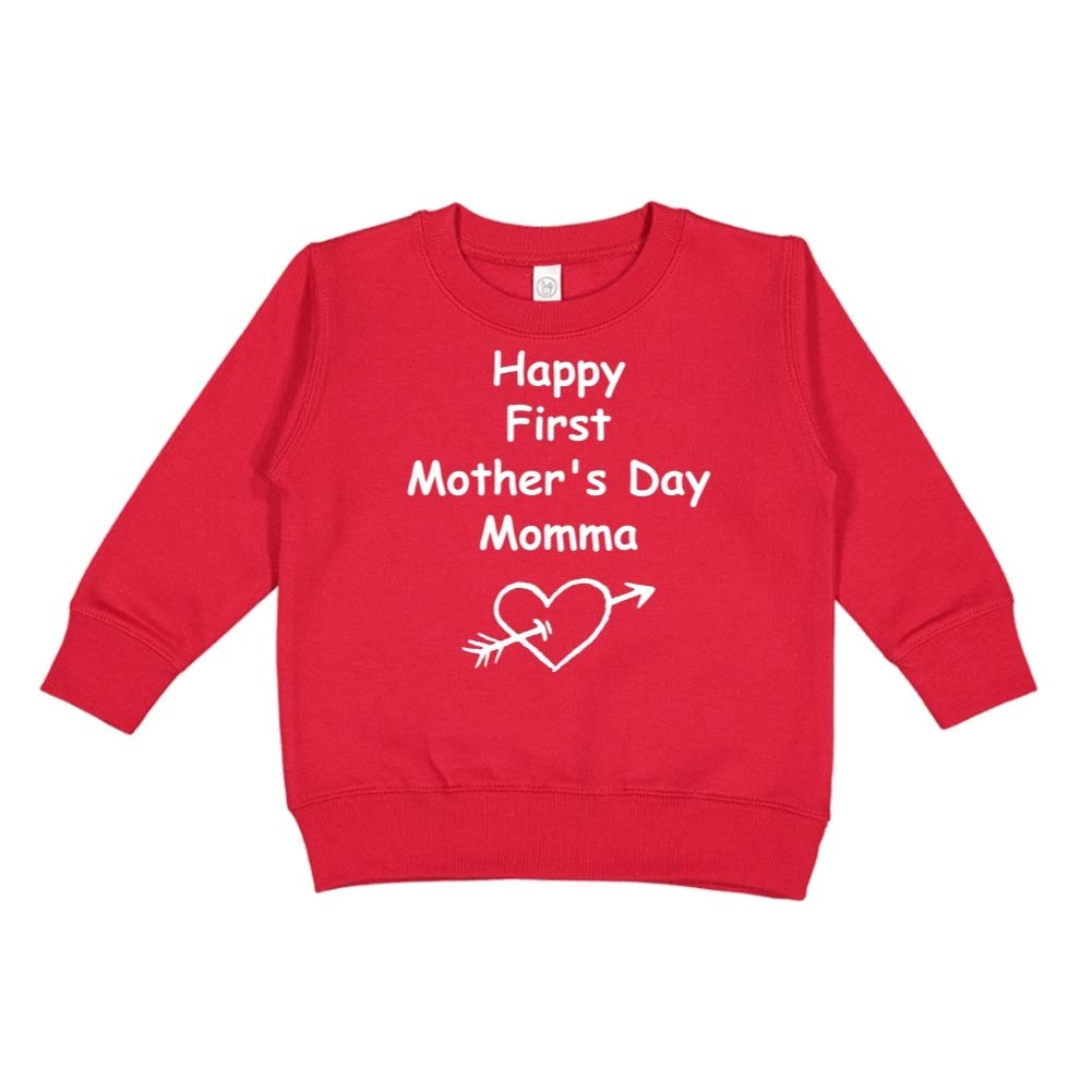 Heart and Arrow Happy First Mothers Day Momma Toddler//Kids Sweatshirt