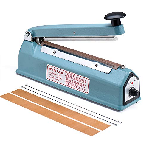 Plastic Sealer Bag - Metronic 8 inch Impulse Bag Sealer Poly Bag Sealing Machine Heat Seal Closer with Repair Kit