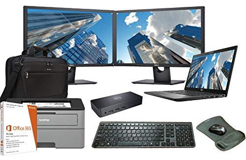 Latitude 7490 Laptop Complete Office Bundle, Intel i5-8250U Quad Core, 8GB RAM, 500GB SSD, Win 10, Office 365, Printer, Dual FHD Monitors, Docking, Bag, Keyboard, Mouse, Mousepad, 3 Years Warranty