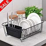 POPILION Simple Design Rust Proof Metal Draining Dish Drying Rack, Dish Drainer Rack With Utensils Holder,White
