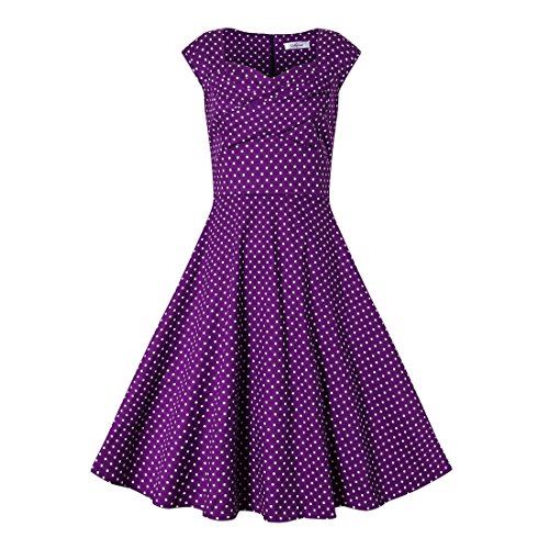 DISSA Retro 50er M Vintage 38 Violett Kleid Rockabilly M1133 Cocktail Damen EU qFrwAx6Z4q