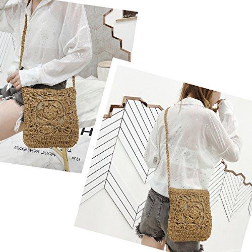 Handmade Brown Summer Messenger Woven Shoulder Crossbody Straw Knitted JOSEKO Bag Handbag Vintage Bag Handmade Straw Beach Bag zpzwtvqa
